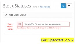 Stock status text length extender Opencart 2x