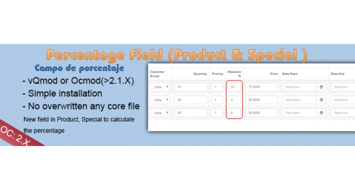 Percentage Field in Discount and Special - Opencart 2.0
