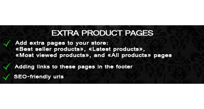 Extra pages: Latest, Popular, Bestsellers, All products (OC 1.x)