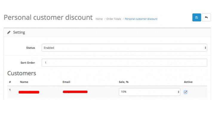 Personal customer discount