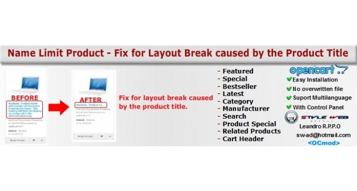 Set Limit Title Product - Fix for layout break
