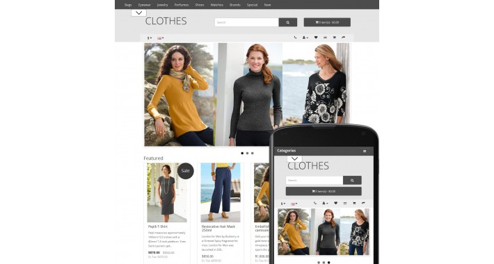 OpenCart  2 Theme Free Clothes Gray