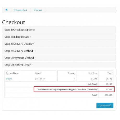 OpenCart - Five Advanced Drop-Downs Shipping Method