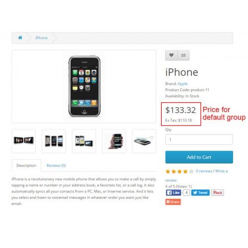 OpenCart - Customer Group Global Price Changer