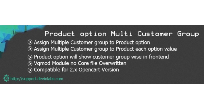 Product Option and Option Value Multi Customer Group Wise