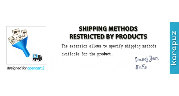 Product Shipping Methods (for Opencart 2)