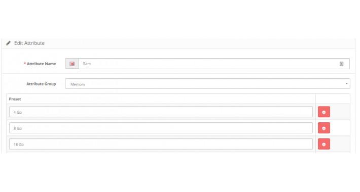Attribute Presets |  Pre defined attribute values | Opencart