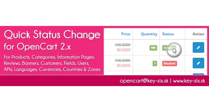 QUICK STATUS CHANGE FOR OPENCART 2