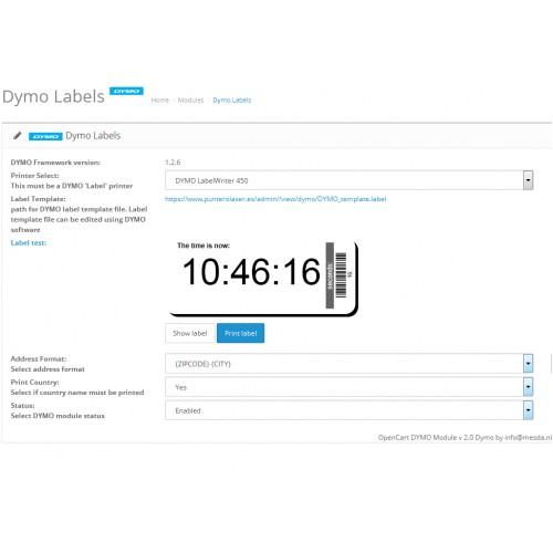 OpenCart - Dymo address label maker PRO for Opencart 2 0