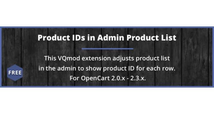 Product IDs in Admin List