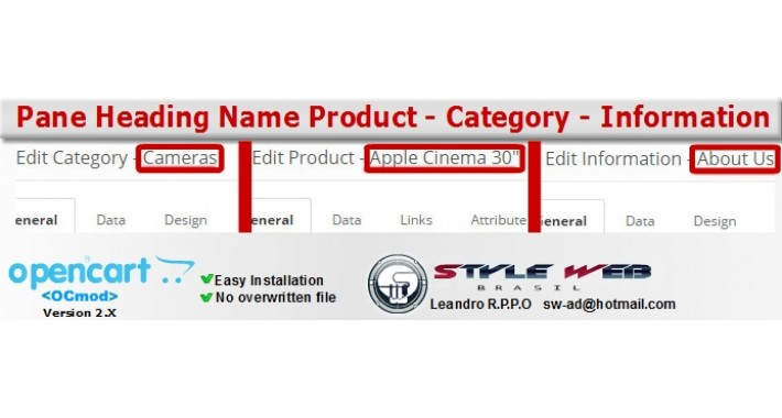 Pane Heading Name: Product - Category - Information