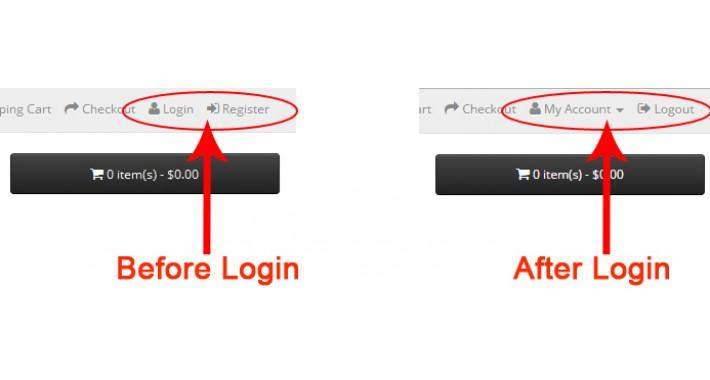 Show Login and Register Links