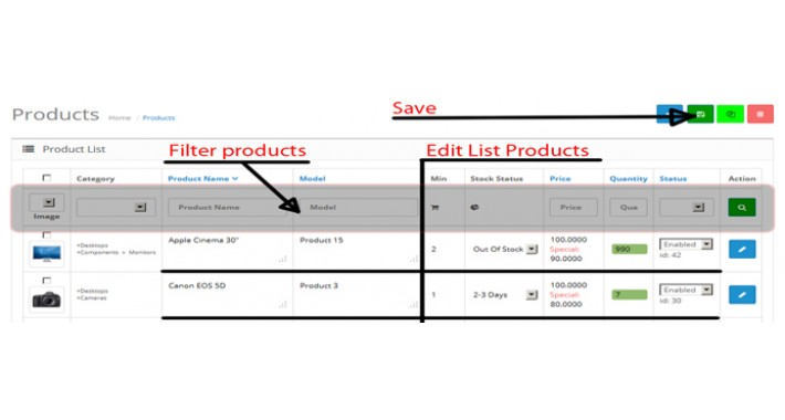 Edit List Products and Admin Filter Products By Category