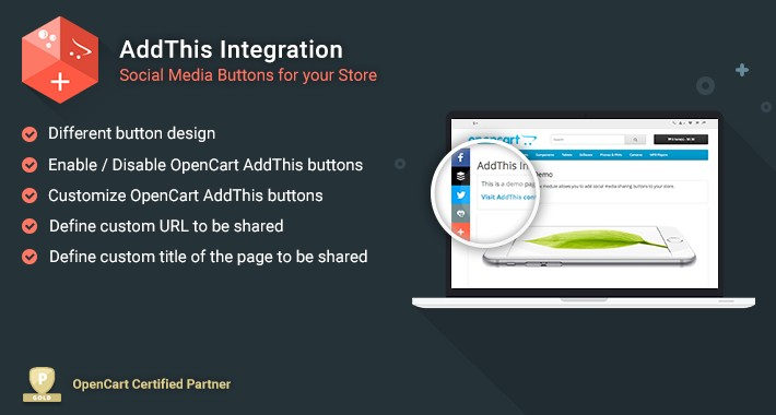 AddThis - OpenCart Free Integration
