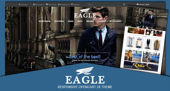 Eagle fashion men responsive opencart 2X theme