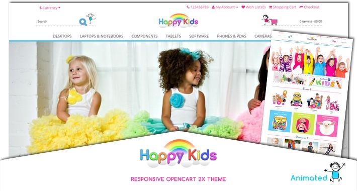 Happy Kids animated responsive opencart theme 2X