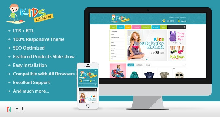 Kids Campus Opencart 2 & 3 Theme - OPCADD019