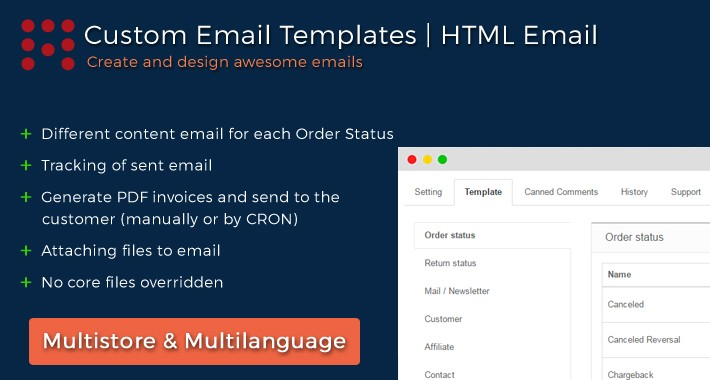 Order Status Email Templates | PDF invoice | HTML Email