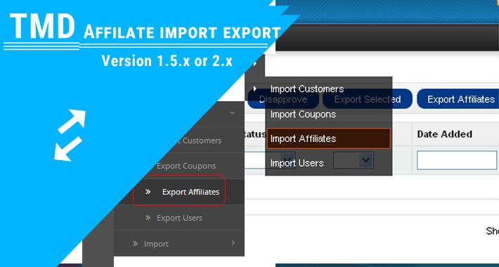 Affiliate import export (1.5.x and 2.x)