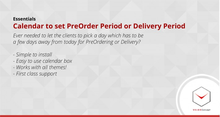 Calendar to set PreOrder Period or Delivery Period