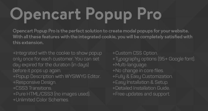 Opencart Popup Pro