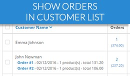 List customer orders