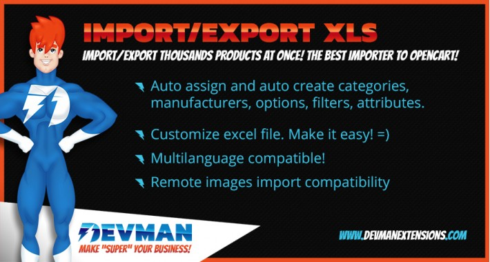 Import/Export xls products tool - product bulk import/export