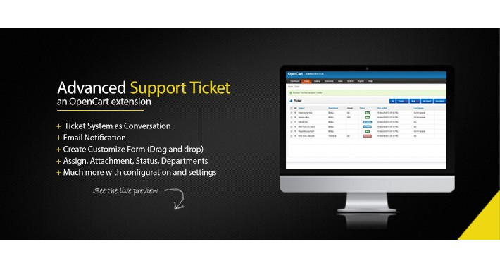 Advanced Support ticket - OpenCart