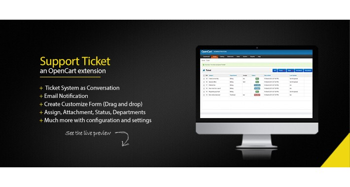 Support Ticket module opencart