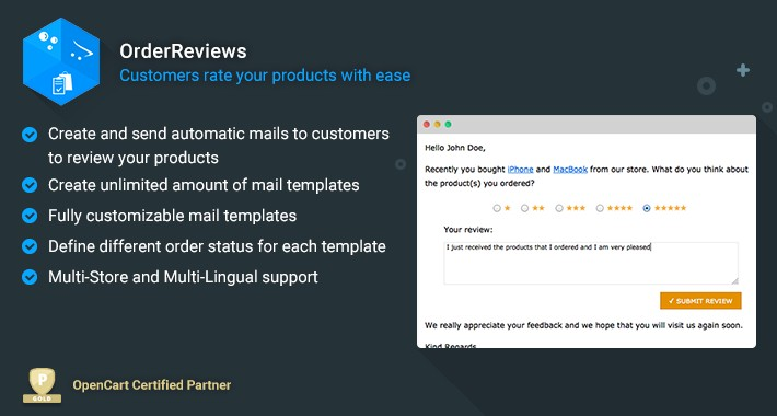 OrderReviews - Email Clients to Rate and Review Products