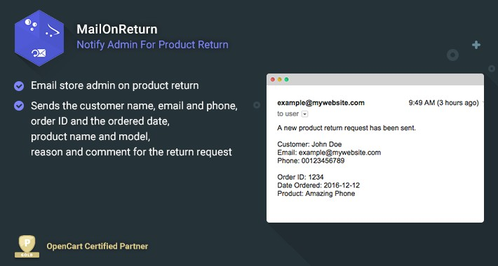 MailOnReturn - Notify Admin For Product Return
