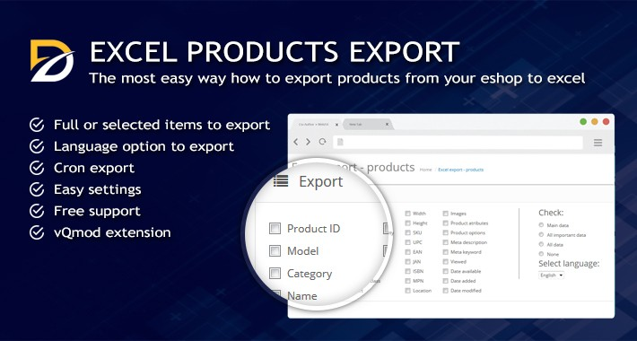 Excel Export Products