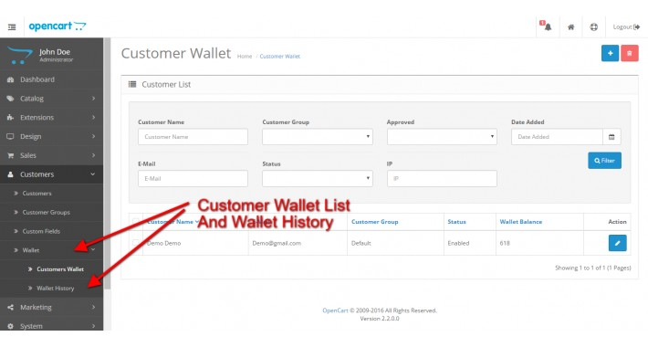 Opencart Wallet System for Customers