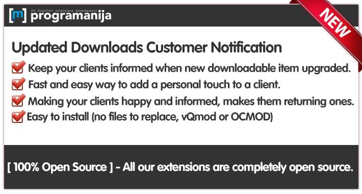 [OC-2.X] Updated Downloads Customer Notifications