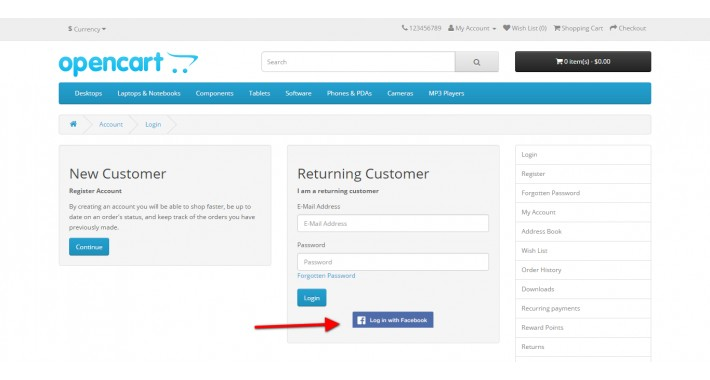OpenCart - FREE Facebook Login Extension