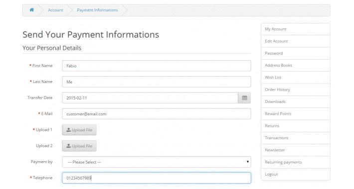 InfoPay - Customer sends payment infos