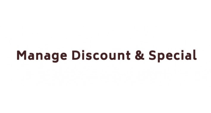 Manage Discount & Special
