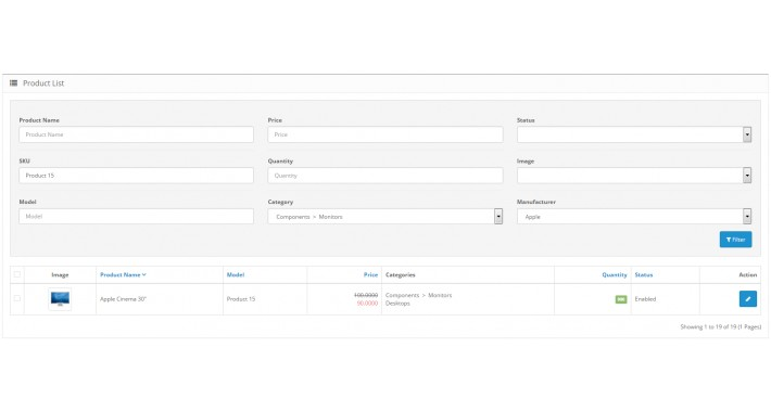 Filter products in admin panel by Manufacturers and Categories