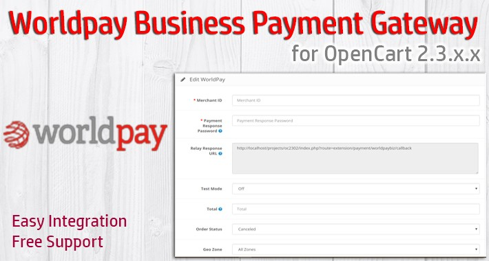 Worldpay Business Payment Gateway for OpenCart 2.3.x.x