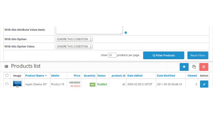 Admin Advanced Products Filter