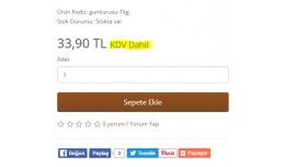 Ürün Sayfasında Fiyat Yanına KDV Dahil eklem..