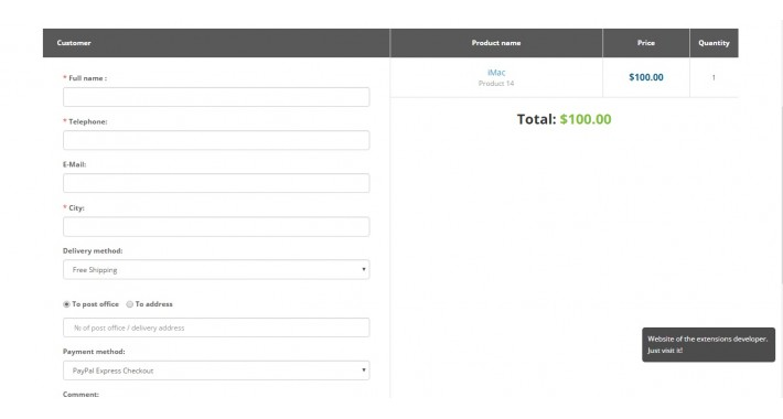 Simple One Page Checkout