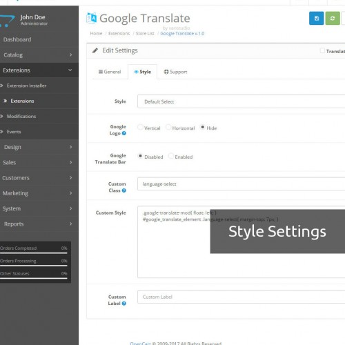 OpenCart - Google Translate