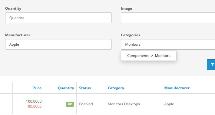 Admin Category/Manufacturer/Attribute Filter (OCMOD) by SDS