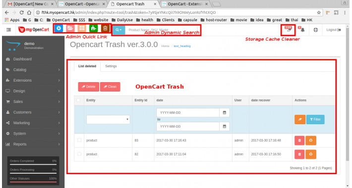 Opencart Trash - Restore what you deleted from Slasoft-Ver2.3