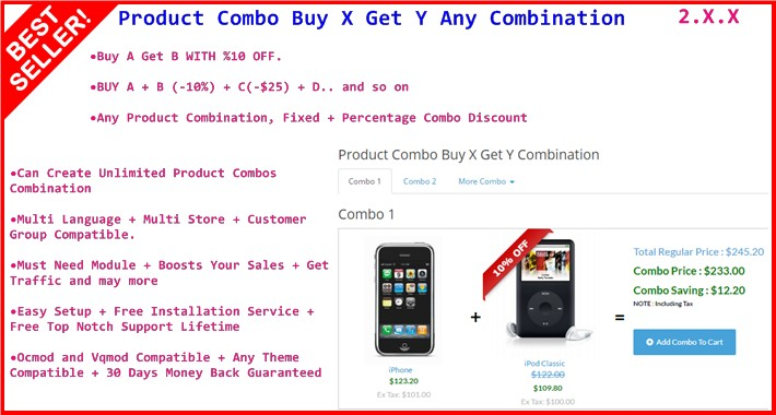Product Combo Buy X Get Y Combination