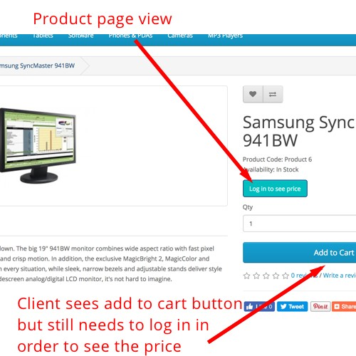 b833dabe3 OpenCart - LoginToSeePrice - Hide price for nonlogged users