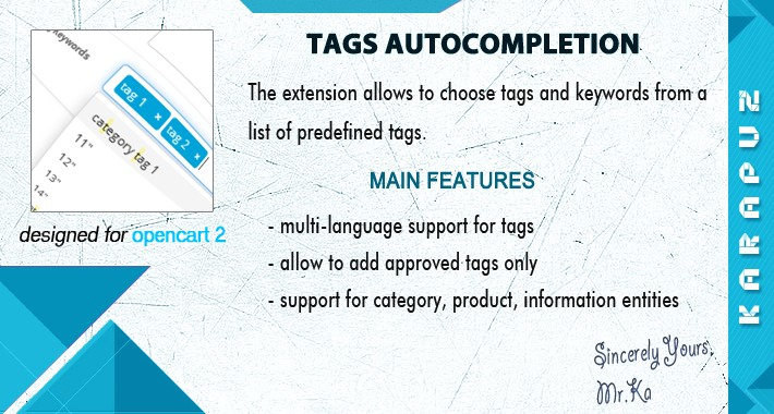 Tags Autocompletion (for Opencart 2)