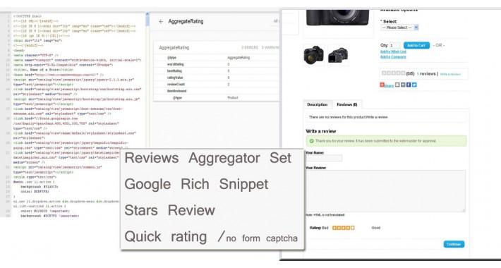 Reviews Aggregator Set,  Google Rich Snippet, Stars Quick rating