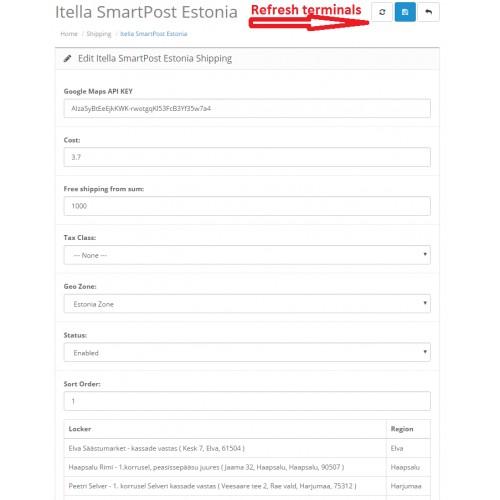 OpenCart - Itella SmartPost Estonia on Google Map Shipping